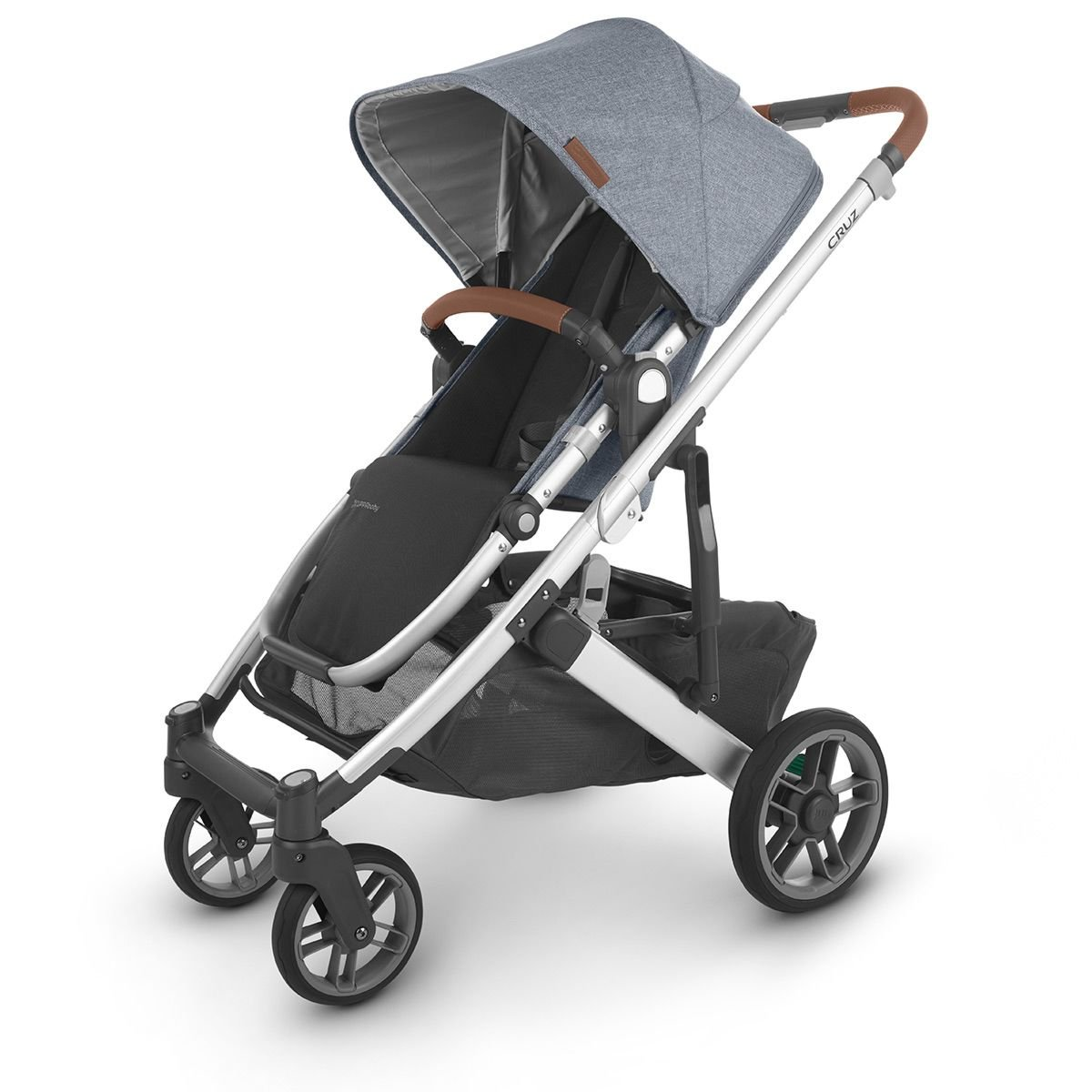 UPPABaby CRUZ V2 Stroller - GREGORY (Blue Melange/Silver/Saddle Leather)