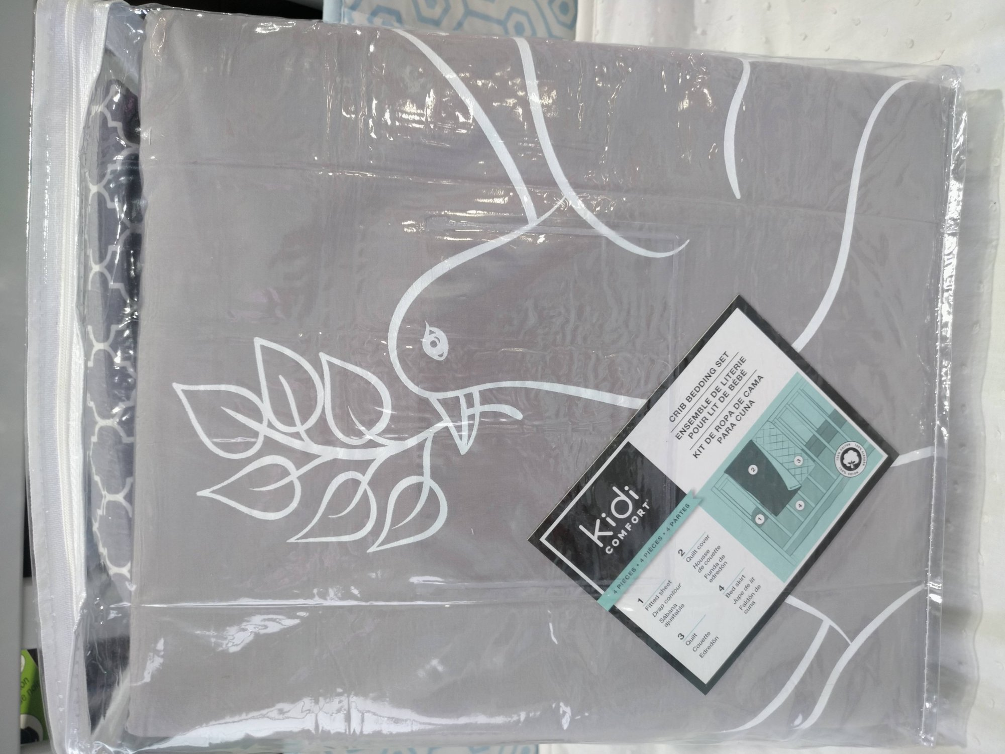 Kidicomfort 4 Pcs Bedding Set - Quattrofoil/Love Bird Grey