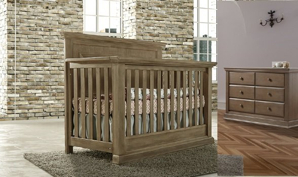 Pali Modena Convertible Crib and 6 Drawer Dresser Set - Distressed Desert (CURBISDE PICK-UP ONLY)