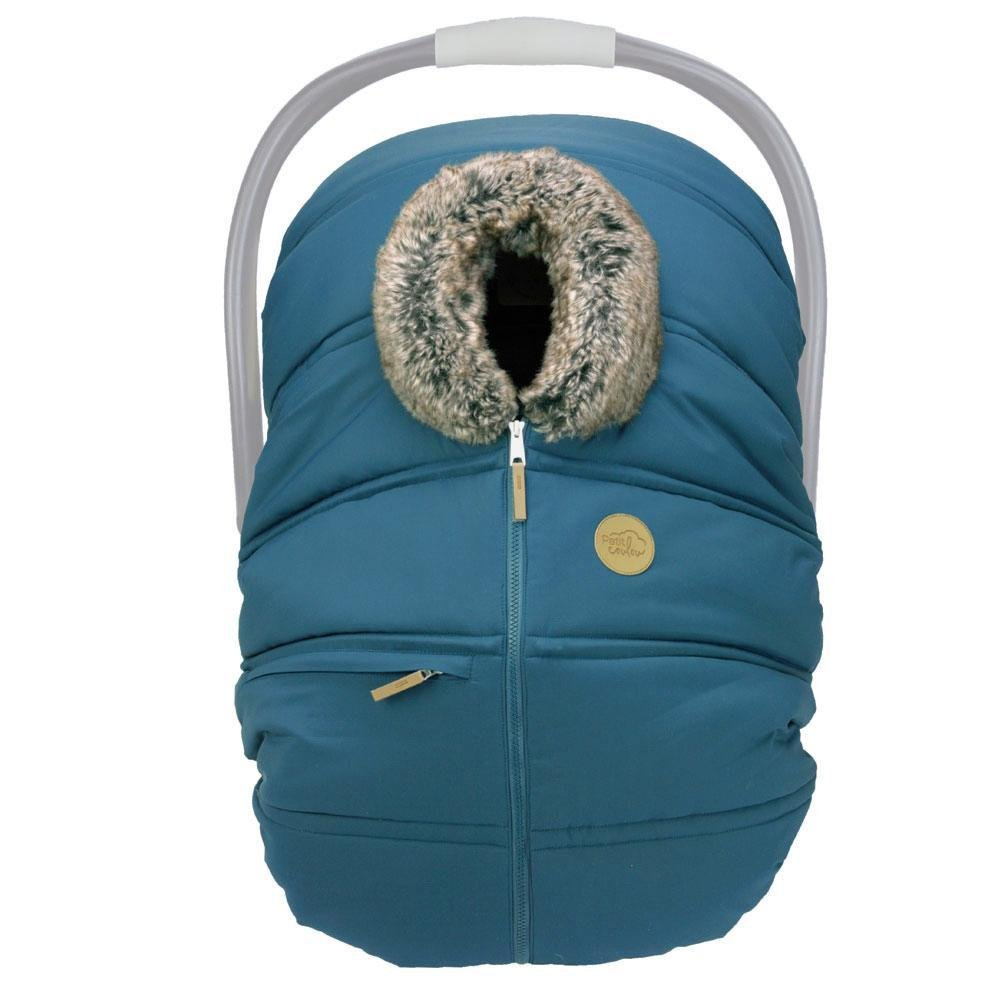 Petit Coulou Winter Baby Car Seat Cover -  Teal / wolf