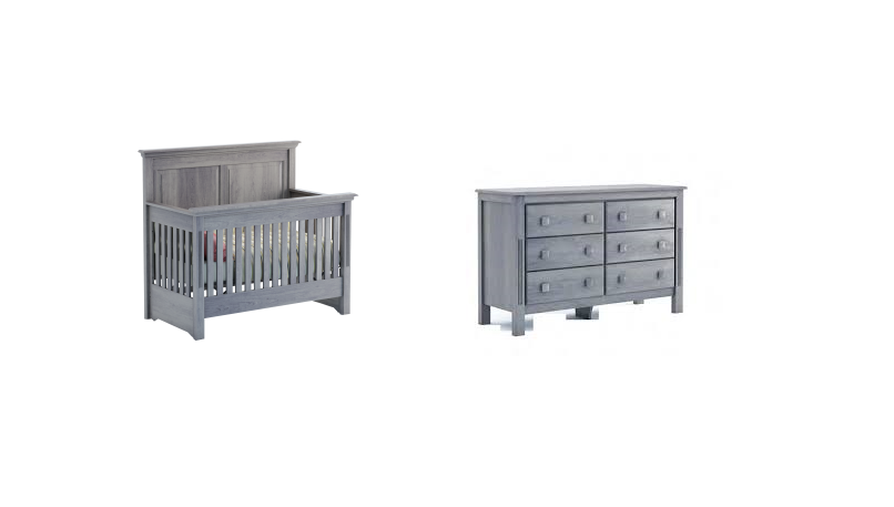 College Woodwork Pembroke Convertible Crib and 6 Drawer Dresser Set - Grey or White