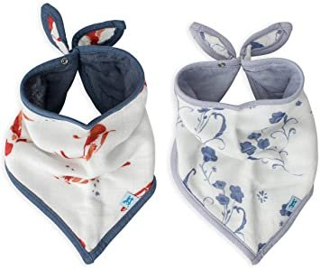 Little Unicorn Cotton Muslin Bandana Bib 2 pack - Porcelain Pond