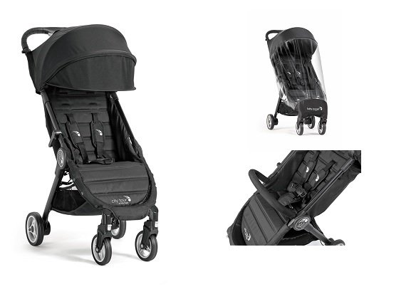 Baby Jogger City Tour - Onyx  With Weather Shield and Belly Bar Combo