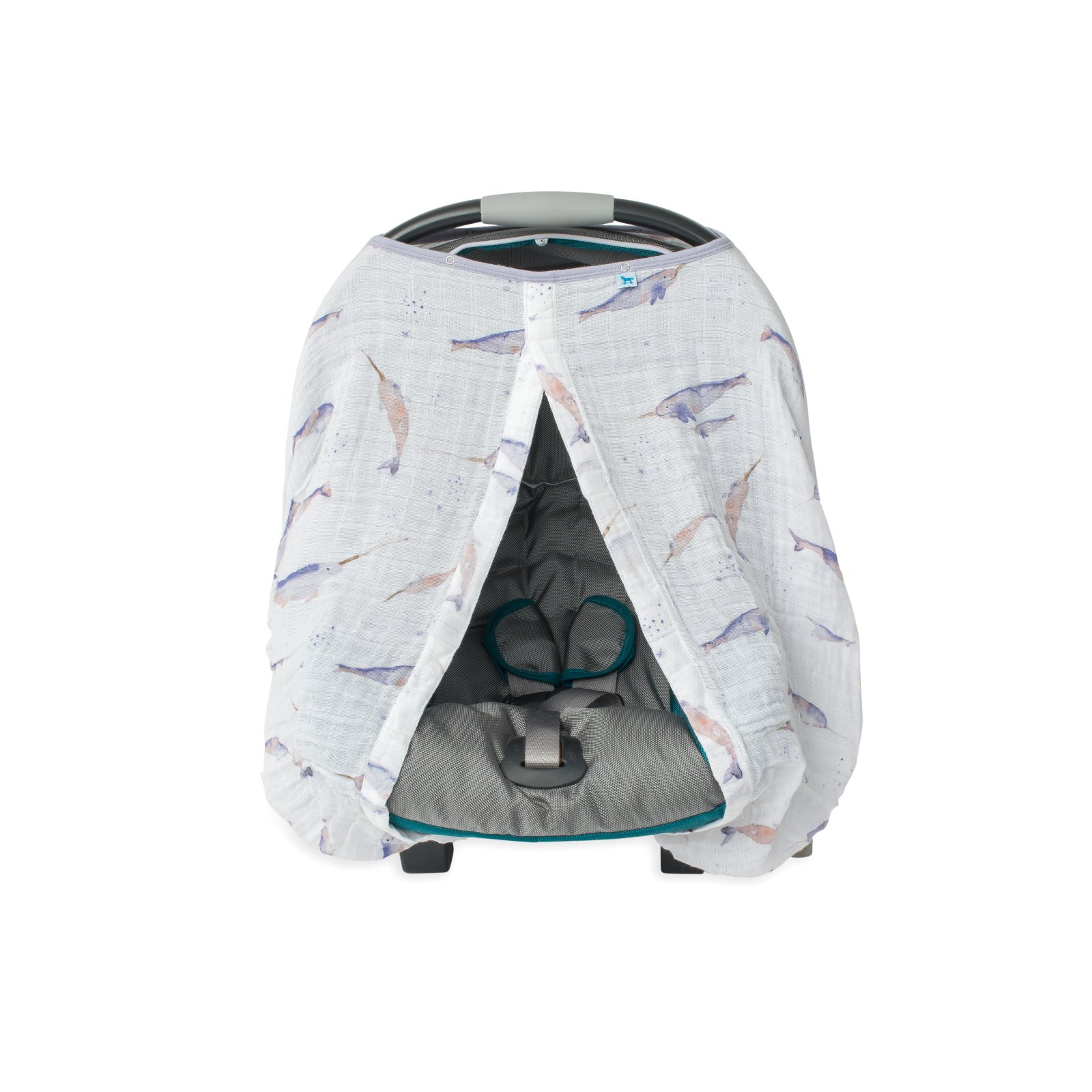 Little Unicorn Cotton Muslin Car Seat Canopy - Narwhal