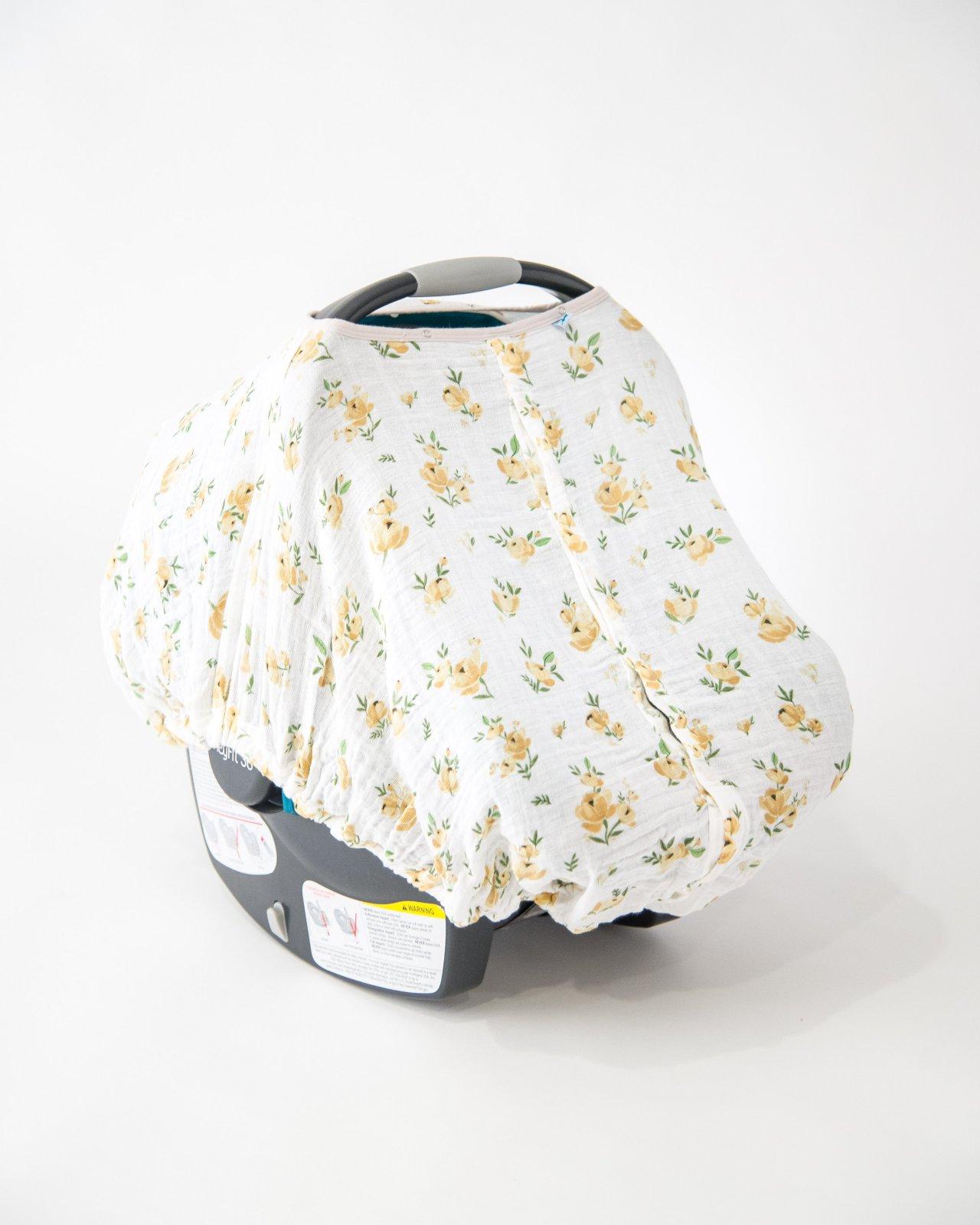 Little Unicorn Cotton Muslin Car Seat Canopy - Yellow Rose