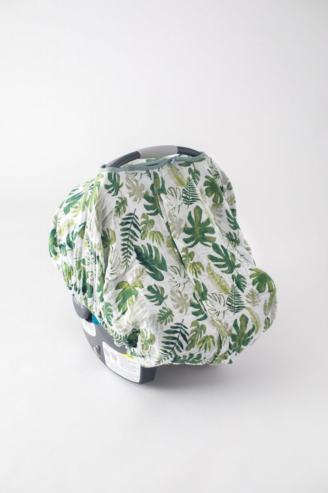 Little Unicorn Cotton Muslin Car Seat Canopy - Tropical Leaf