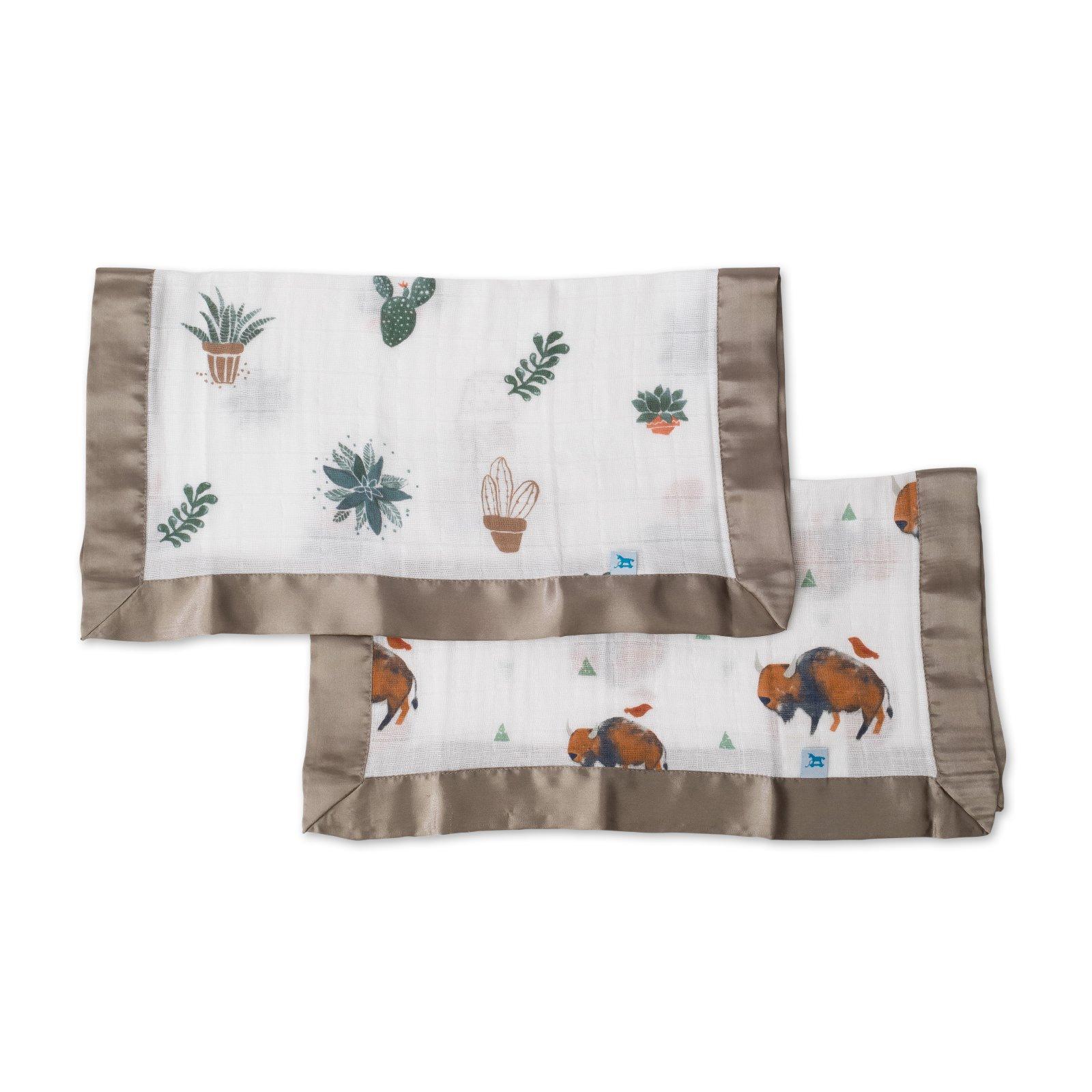 Little Unicorn Cotton Muslin Security Blanket 2 Pack - Bison + Prickle Pots