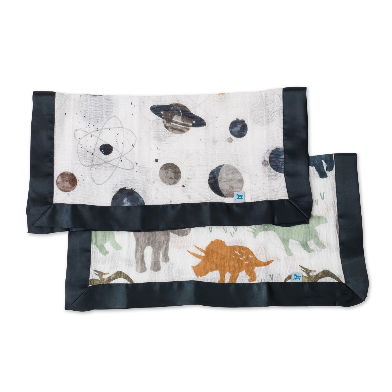 Little Unicorn Cotton Muslin Security Blanket 2 Pack - Dino Friends + Planetary