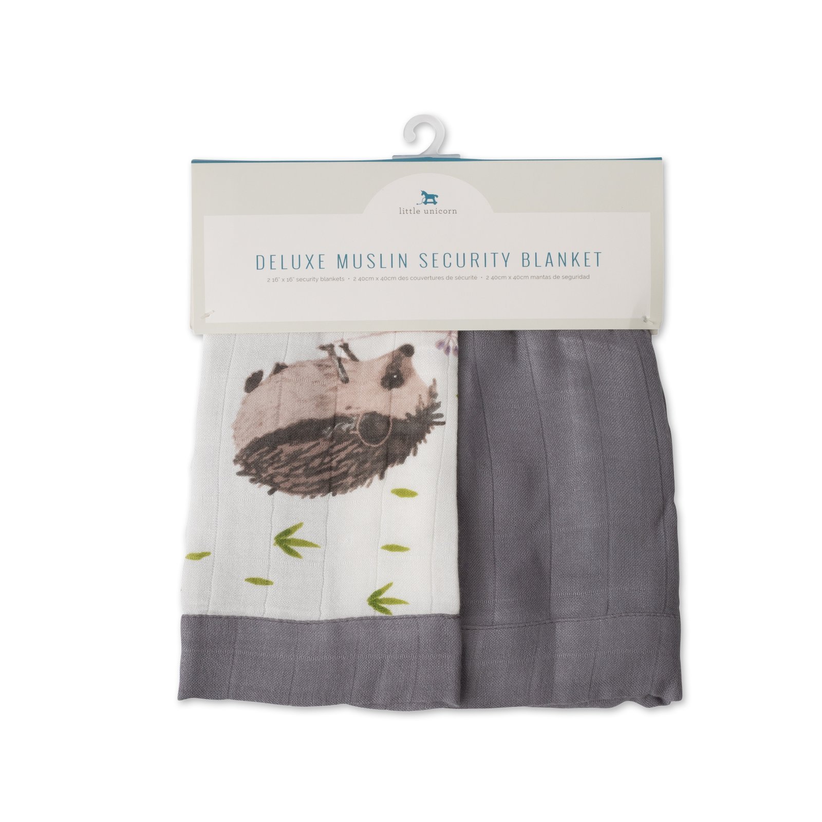 Little Unicorn Deluxe Muslin Security Blanket 2 Pack - Hedgehog + Charcoal