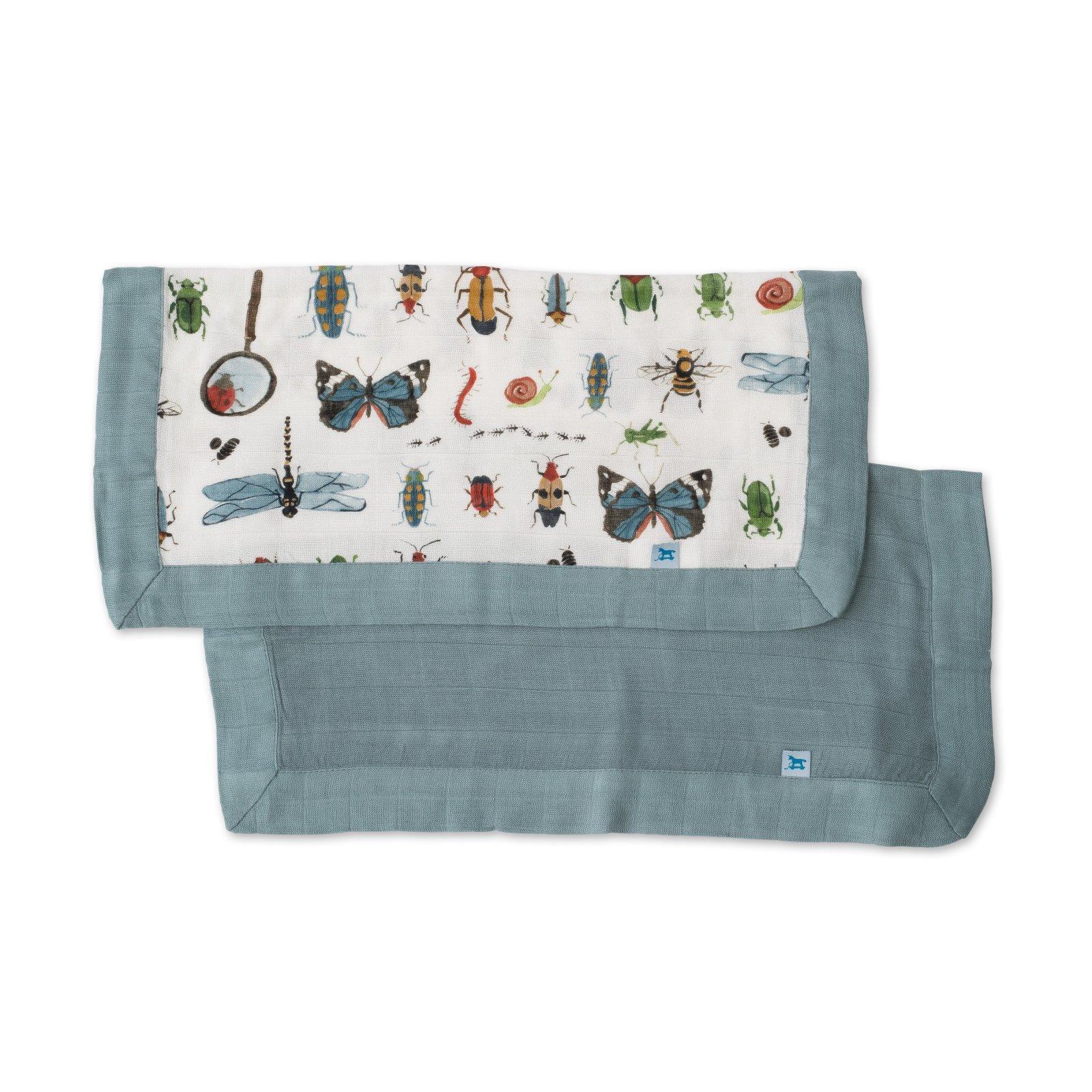Little Unicorn Deluxe Muslin Security Blanket 2 Pack - Bugs + Spruce