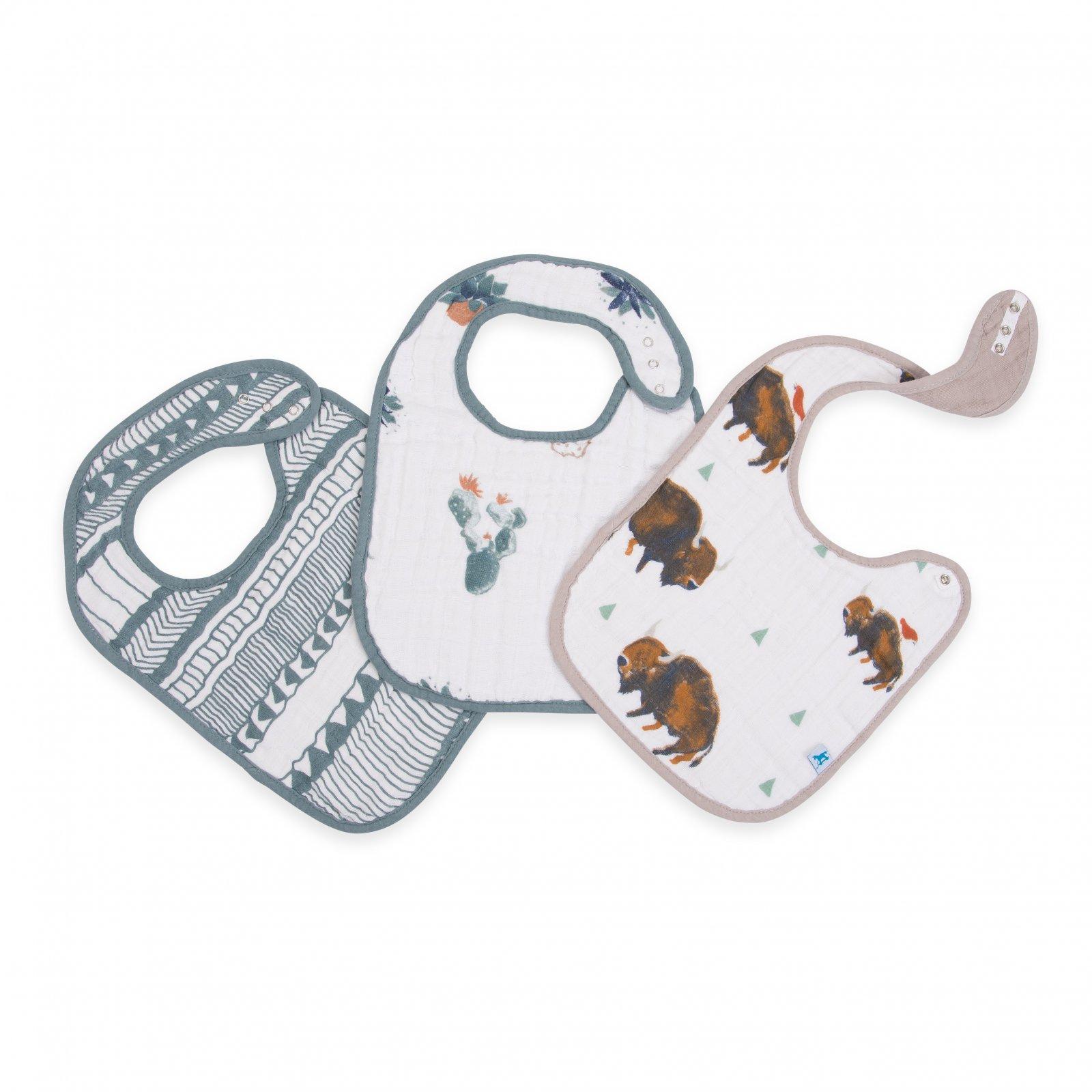 Little Unicorn Cotton Muslin Classic Bib 3 Pack - Bison