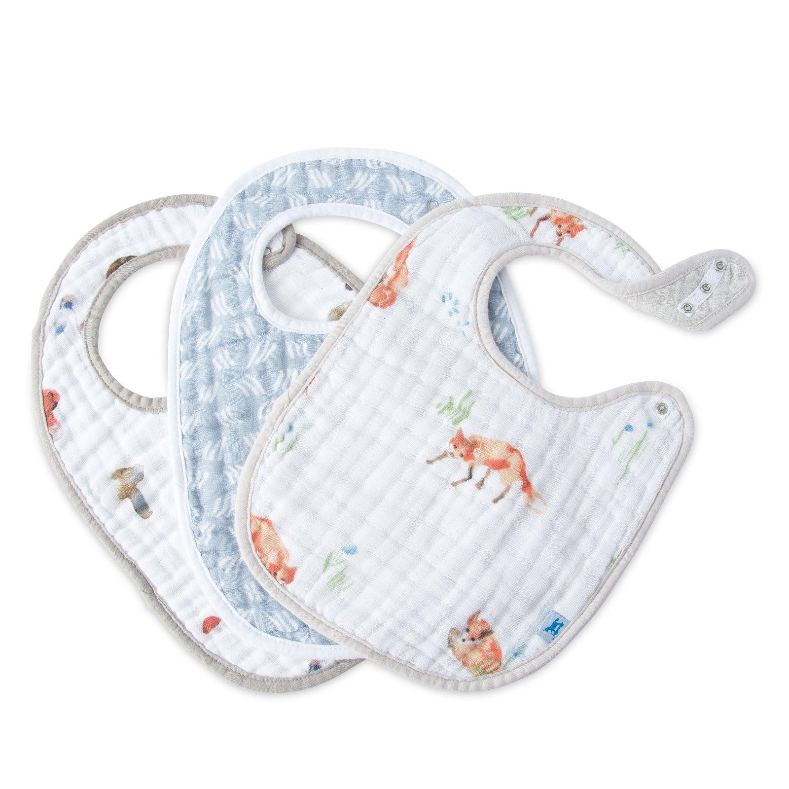 Little Unicorn Cotton Muslin Classic Bib 3 Pack - Fox