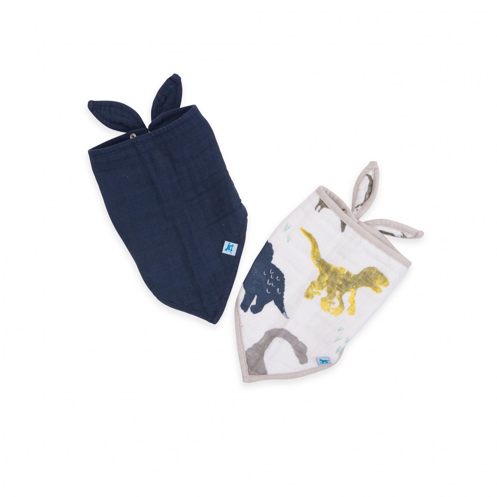 Little Unicorn Cotton Muslin Bandana Bib 2 pack - Dino Friends