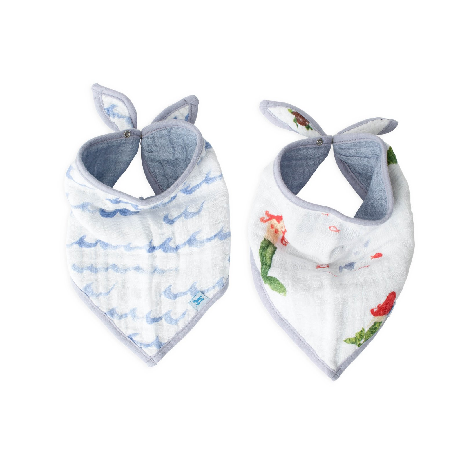 Little Unicorn Cotton Muslin Bandana Bib 2 pack - Mermaid
