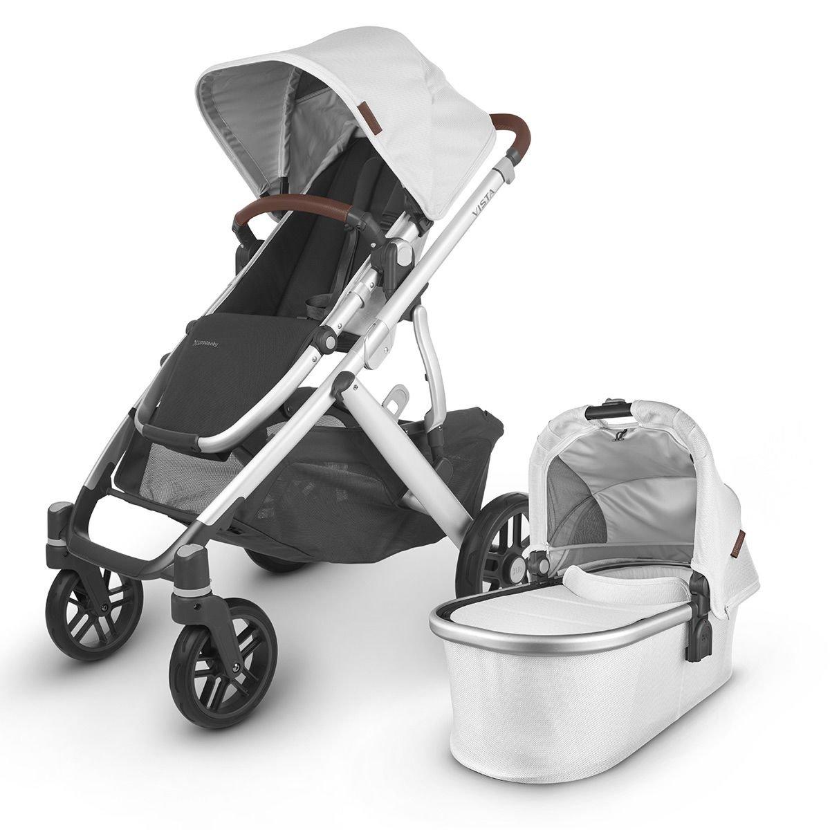 UPPABaby VISTA V2 Stroller - BRYCE (White Marl/Silver/Saddle Leather)