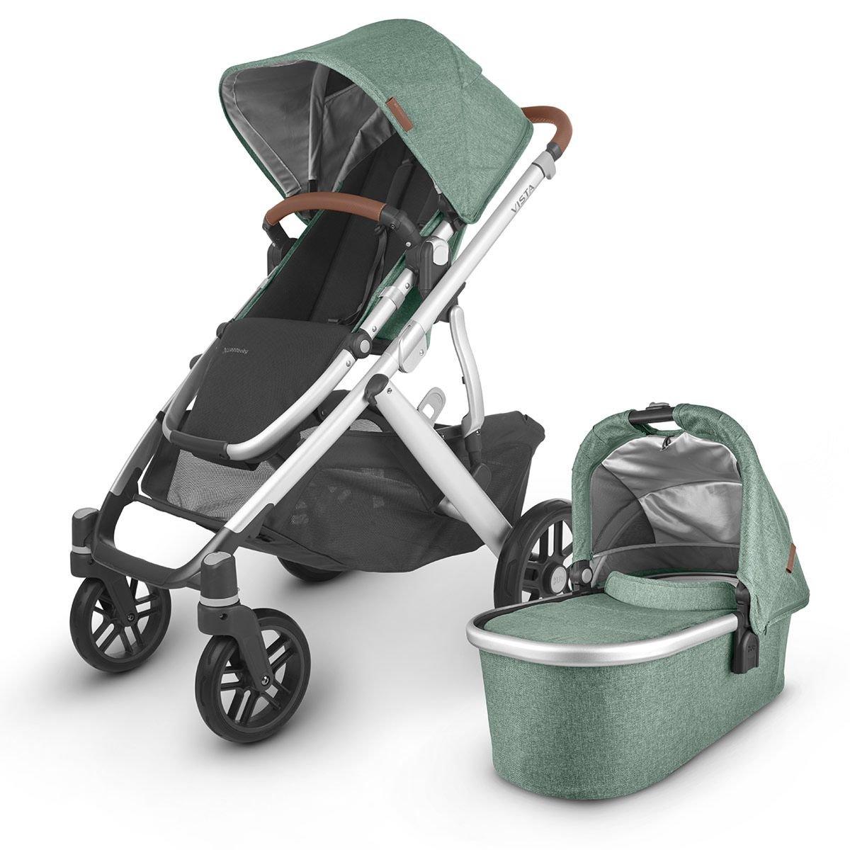 UPPABaby VISTA V2 Stroller - EMMETT (Green Melange/Silver/Saddle Leather)