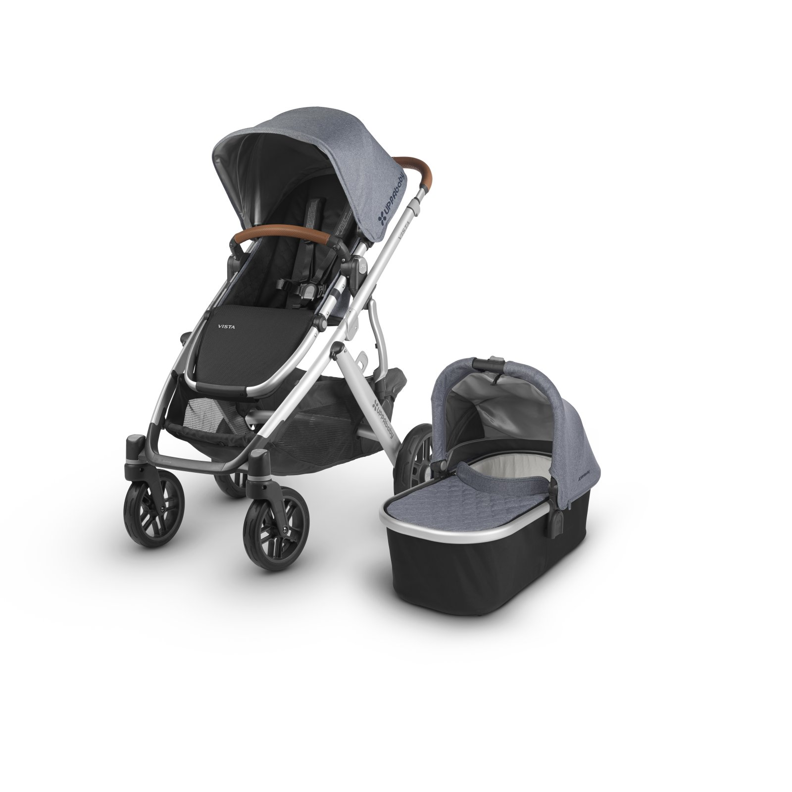 UPPAbaby VISTA Stroller - GREGORY (Blue Melange/Silver/Saddle Leather)