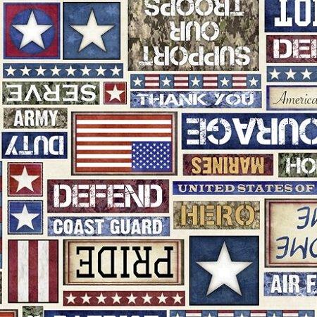 All American Patriot Text - Cream