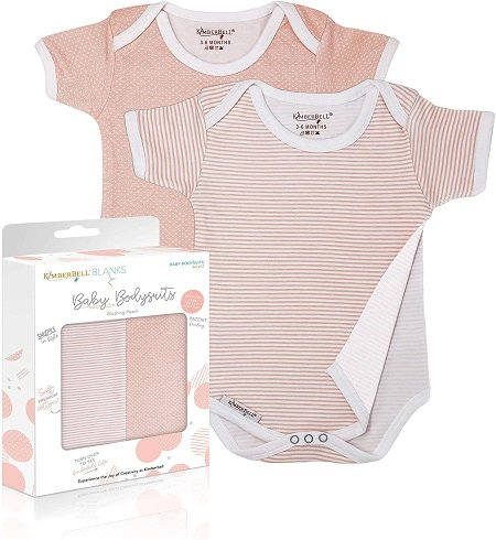 KimberBell Baby Bodysuits - Blushing Peach (6-9 Months) - Pack of 2