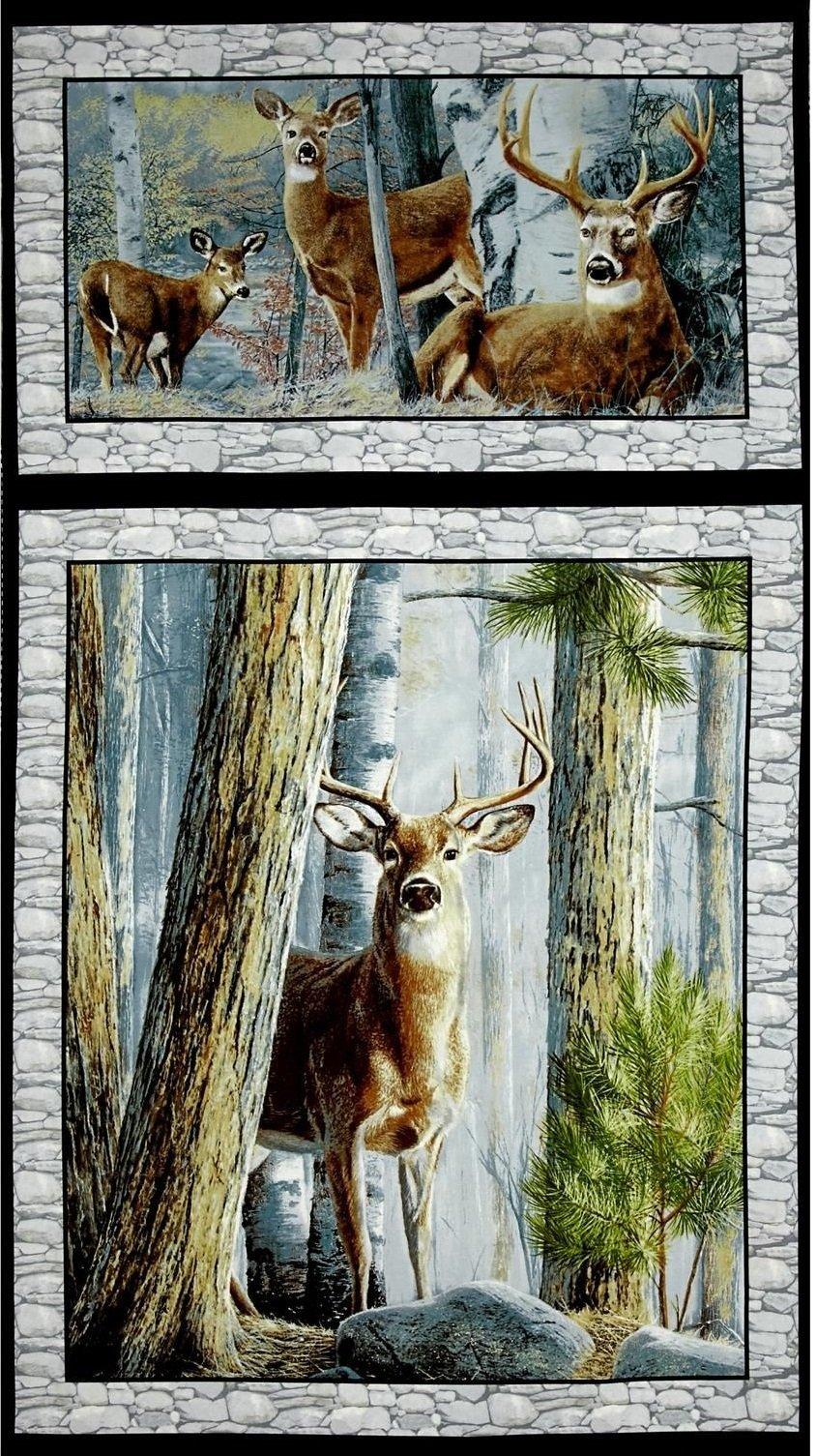 In The Woods Deer Fabric Panel