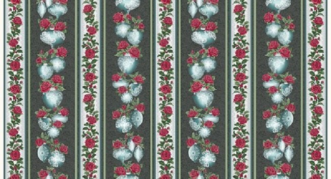 Festive Lace Ornaments Stripe Metallic - Charcoal