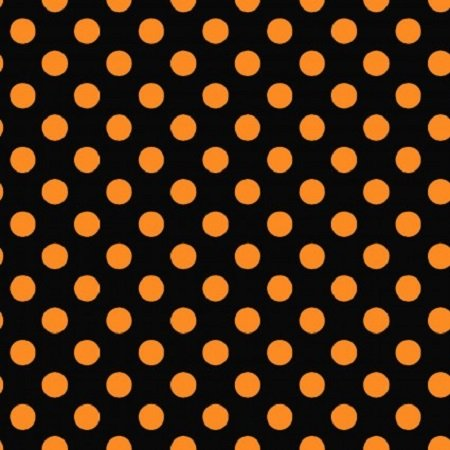 KimberBell Hometown Halloween Dots Orange on Black