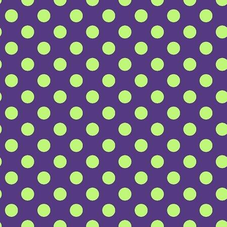 KimberBell Hometown Halloween Dots Green on Purple