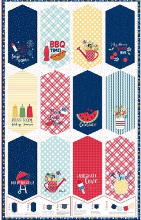 KimberBell Red, White & Bloom Pennant Panel