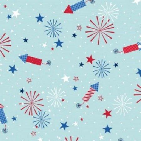 KimberBell Red, White & Bloom - Fireworks Lt Blue