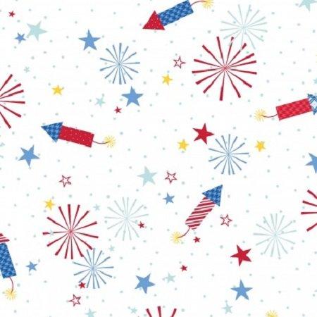 KimberBell Red, White & Bloom - Fireworks White