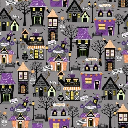 KimberBell Hometown Halloween Houses Gray