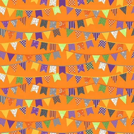 KimberBell Hometown Halloween Orange Flags