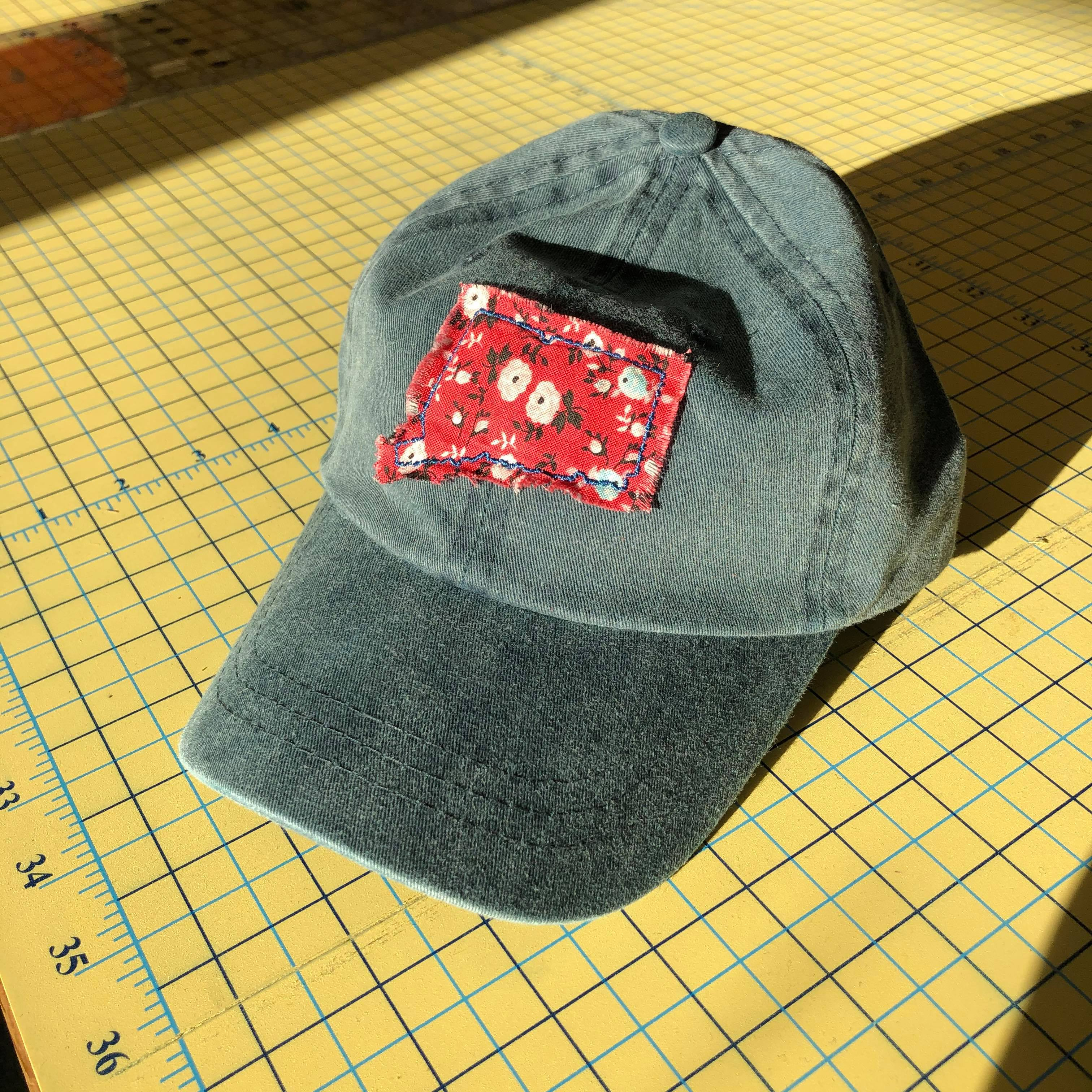 Navy Washed Kids Hat - Red Floral Connecticut Patch
