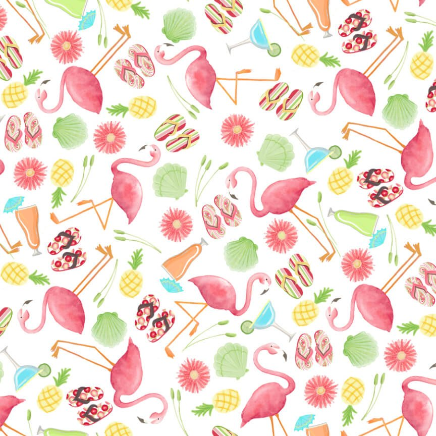 Let's Flamingle! - Tossed Motifs - By SunDance Studio For Blank Quilting Co.