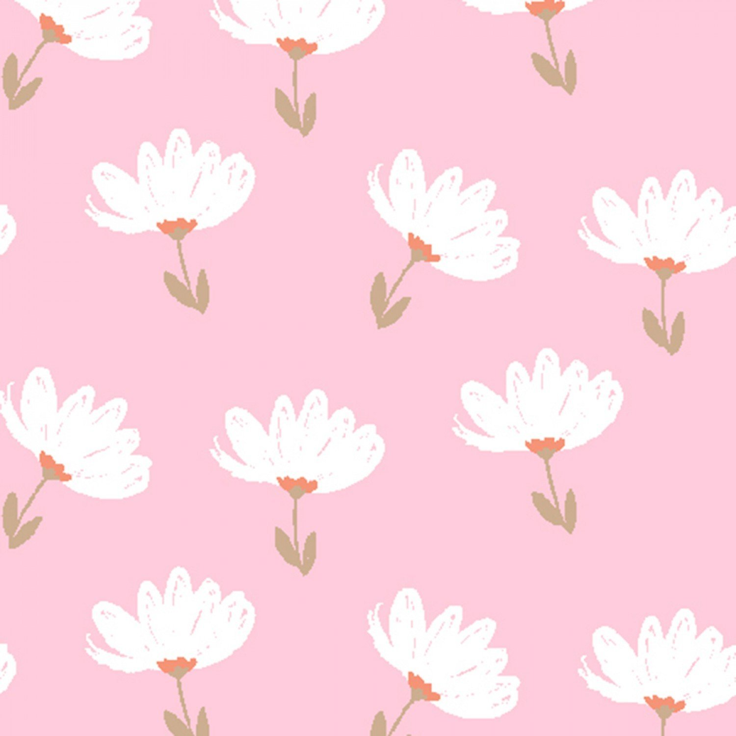 Playful Cuties 3 - White Floral Flannel - by 3 Wishes