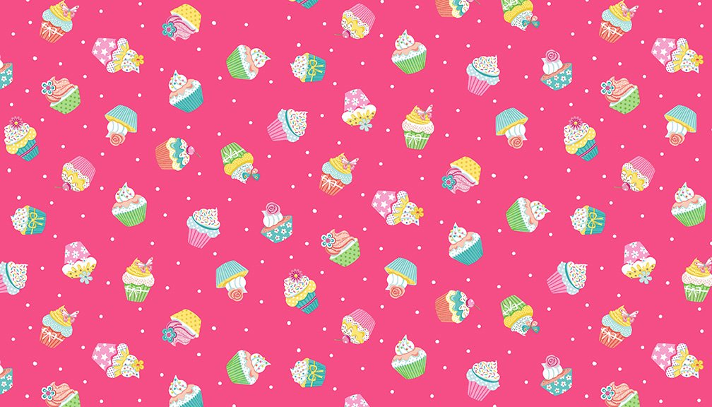 Daydream - Cupcakes, Pink - by Makower UK