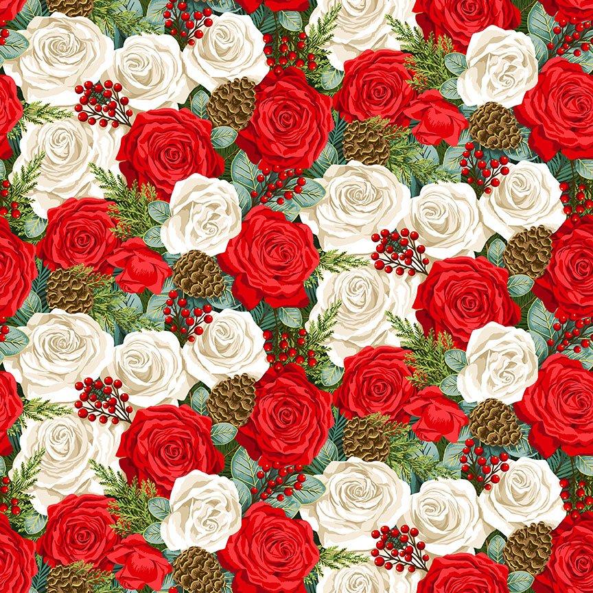 Classic Foliage - Christmas Rose*Metallic* - By Makower UK