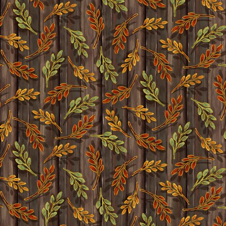 Harvest Elegance - Leaf Sprigs, Brown - by QT Fabrics