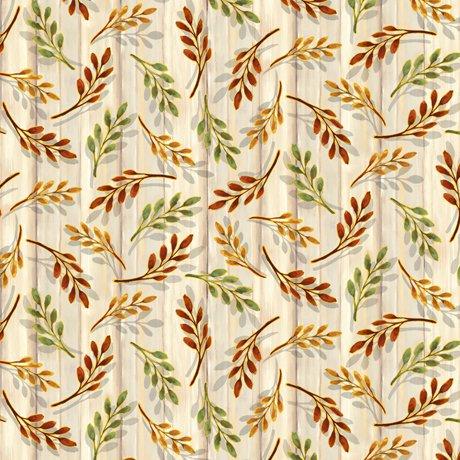 Harvest Elegance - Leaf Sprigs, Natural - by QT Fabrics