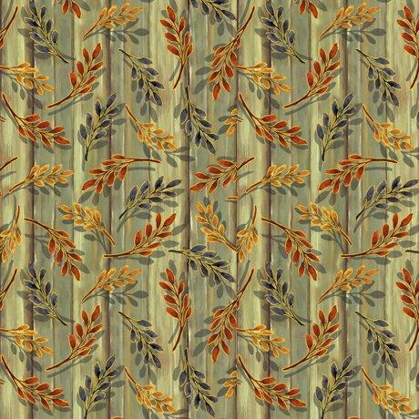 Harvest Elegance - Leaf Sprigs, Avocado - by QT Fabrics