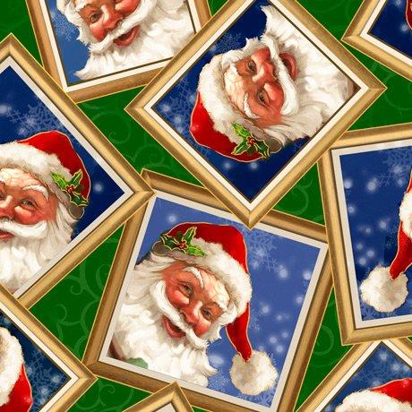 Gifts From Santa - Santa in Frames, Green - by QT Fabrics
