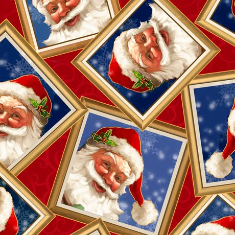 Gifts From Santa - Santa in Frames, Red - by QT Fabrics