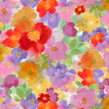 Leela - Multi, Packed Floral- Digitally Printed - QT Fabrics