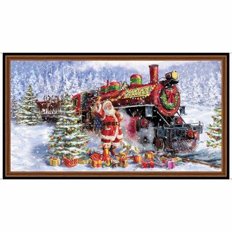 Santa's Night Out - 36 Train Panel - By Marcello Corti For QT Fabrics