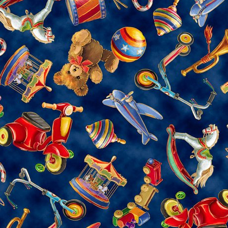 Santa's Night Out - Navy Tossed Toys - By Marcello Corti For QT Fabrics