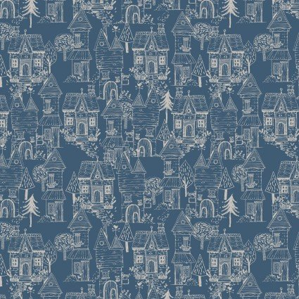 Little Thicket - Navy Houses - By 3 Wishes Fabric