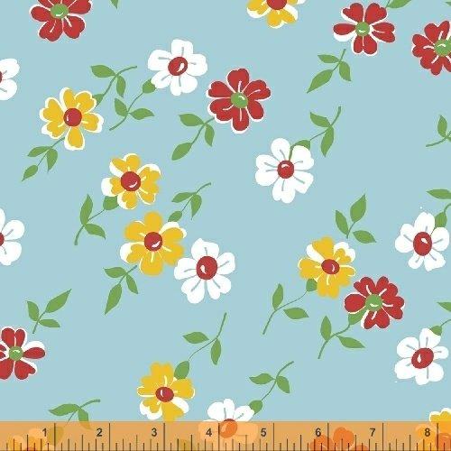 Bounce - Floral, Aqua - by Allison Harris for Windham Fabrics