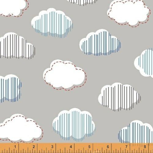 Bounce - Clouds, Gray - by Allison Harris for Windham Fabrics