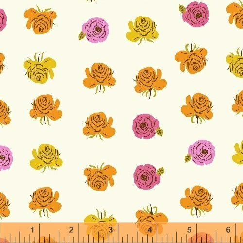 Far Far Away 2 - Roses, Pink on Cream - by Heather Ross for Windham Fabrics