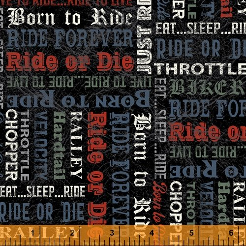 Born To Ride - Words Black - By Rosemarie Lavin For Windham Fabrics